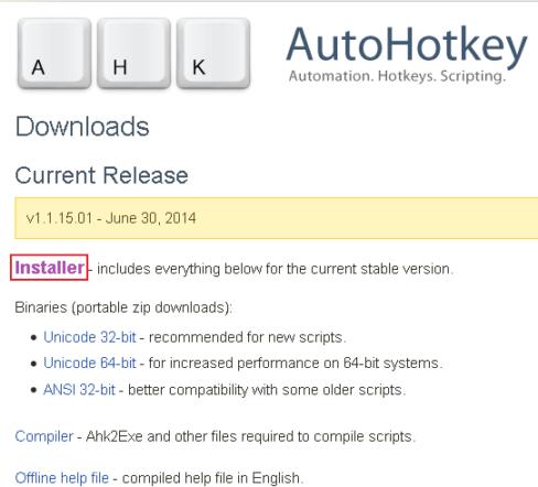 AutoHotkey 下载页面